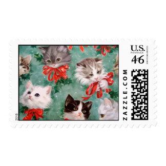 Gatos del navidad del vintage sellos
