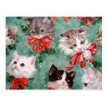 Gatos del navidad del vintage tarjeta postal