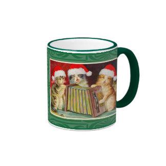 Gatos del navidad del vintage taza