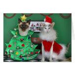 Gatos del navidad felicitacion