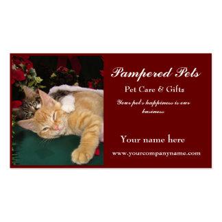 Gatos del navidad, gatitos lindos que abrazan, son plantilla de tarjeta de negocio