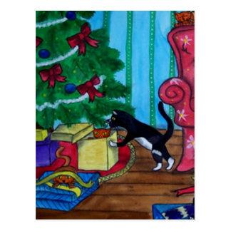 Gatos del navidad postal