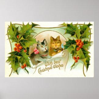 Gatos del navidad póster