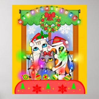 Gatos del navidad que cuelgan luces del día de fie póster