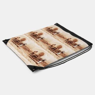 Gatos del oeste viejos con el carro cubierto mochila