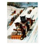 Gatos del trineo largo del vintage postal