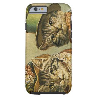 Gatos del Victorian del vintage en los gorras, Funda Para iPhone 6 Tough