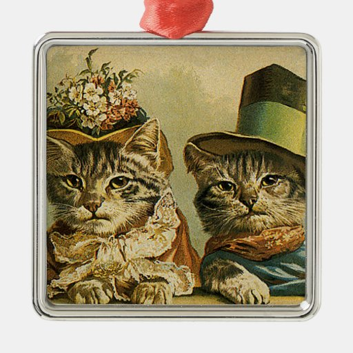 Gatos del Victorian del vintage en los gorras, hum Adorno