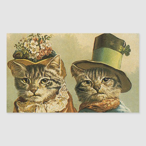 Gatos del Victorian del vintage en los gorras, hum Rectangular Altavoz