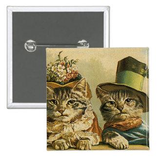 Gatos del Victorian del vintage en los gorras, hum Pins