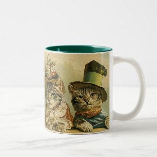 Gatos del Victorian del vintage en los gorras, hum Taza De Café