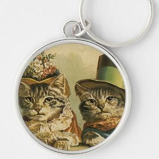 Gatos del Victorian del vintage en los gorras, Llavero Redondo Plateado