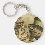 Gatos del Victorian del vintage en los gorras, Llavero