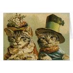 Gatos del Victorian del vintage en los gorras, Felicitaciones