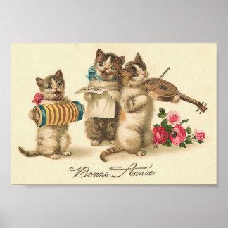 Gatos del vintage de Bonne Annee Poster