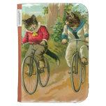 Gatos del vintage en la bicicleta