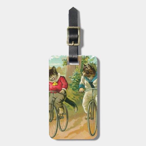 Gatos del vintage en la bicicleta etiquetas bolsa