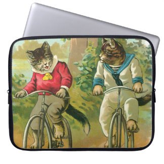 Gatos del vintage en la bicicleta funda ordendadores