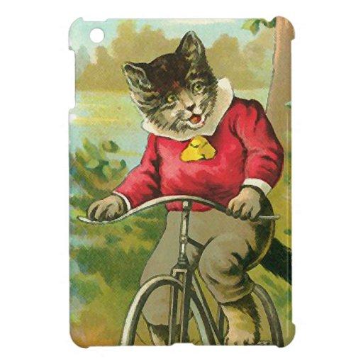 Gatos del vintage en la bicicleta iPad mini carcasas