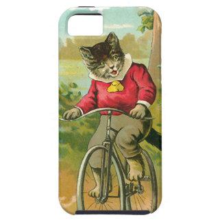 Gatos del vintage en la bicicleta iPhone 5 carcasa
