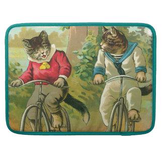 Gatos del vintage en la bicicleta funda para macbooks