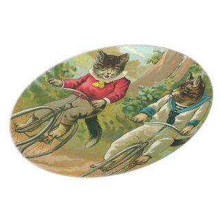 Gatos del vintage en la bicicleta platos para fiestas