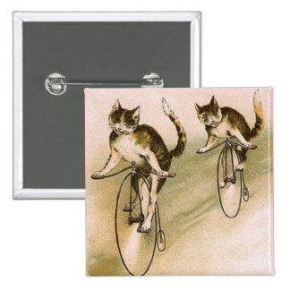 Gatos del vintage en las bicis pin cuadrado