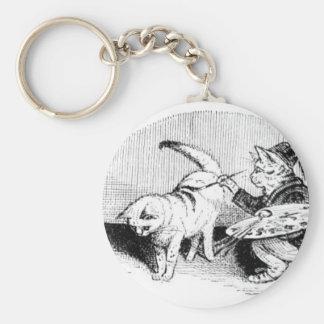 Gatos del vintage llavero redondo tipo pin