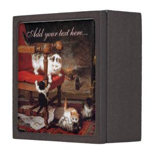 Gatos del vintage por la chimenea cajas de regalo de calidad