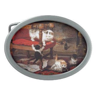 Gatos del vintage por la chimenea hebilla de cinturón