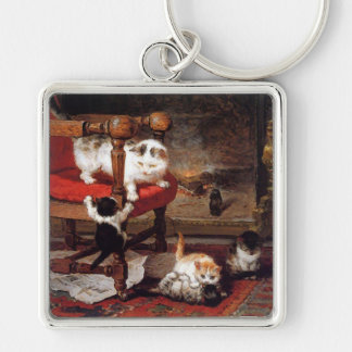 Gatos del vintage por la chimenea llavero cuadrado plateado