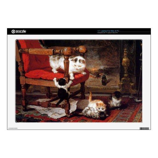 Gatos del vintage por la chimenea portátil skin