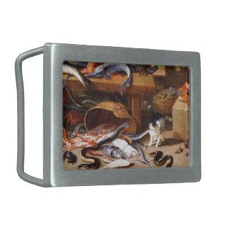 Gatos del vintage que comen los crustáceos hebilla de cinturon rectangular