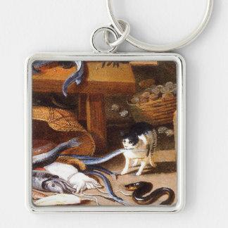 Gatos del vintage que comen los crustáceos llavero cuadrado plateado