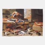 Gatos del vintage que comen los crustáceos toalla de cocina