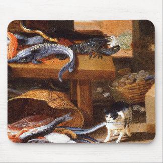 Gatos del vintage que comen los crustáceos alfombrillas de raton