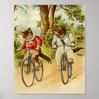 Gatos del vintage que montan el ejemplo de las póster