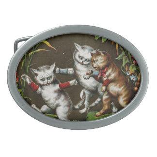 Gatos del vintage Tres buenos amigos Hebilla De Cinturón