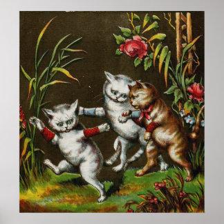 Gatos del vintage Tres buenos amigos Impresiones