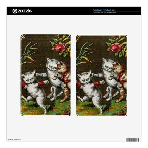 Gatos del vintage: Tres buenos amigos Pegatinas Skins Para Kindle Fire