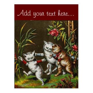 Gatos del vintage: Tres buenos amigos Tarjeta Postal