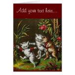 Gatos del vintage: Tres buenos amigos Tarjeton