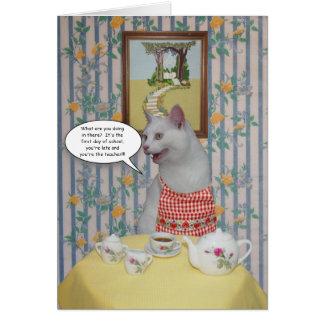Gatos divertidos adaptables de nuevo a tarjeta de
