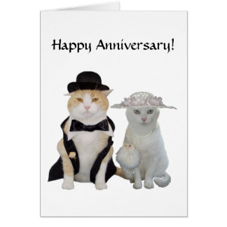 Gatos divertidos, bonitos adaptables/aniversario tarjeta de felicitación