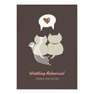 Gatos divertidos del dibujo animado que casan la invitación 12,7 x 17,8 cm