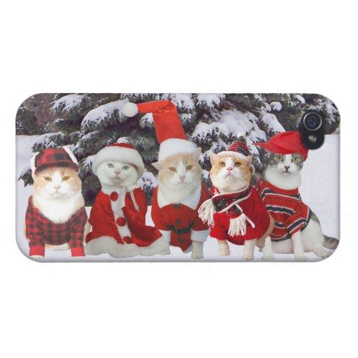 Gatos divertidos del navidad iPhone 4 cárcasa