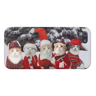 Gatos divertidos del navidad iPhone 5 carcasas