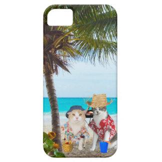 Gatos divertidos en la playa iPhone 5 carcasas