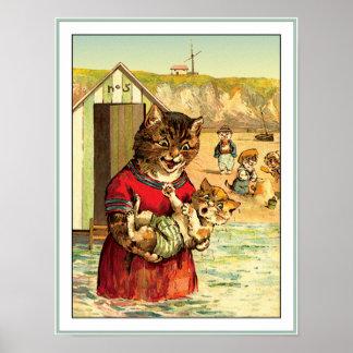 Gatos divertidos en la playa - Louis Wain Póster