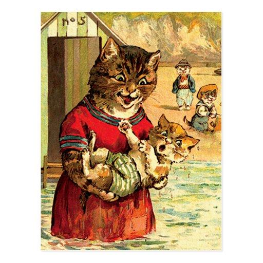 Gatos divertidos en la playa - Louis Wain Postales